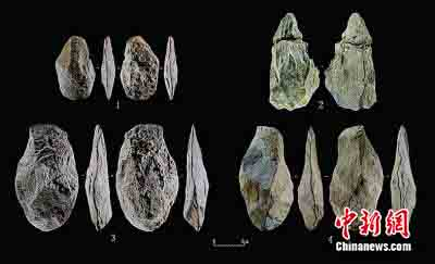 Acheulean hand axes unearthed in Piluo Site. (Photo provided by the National Cultural Heritage Administration)