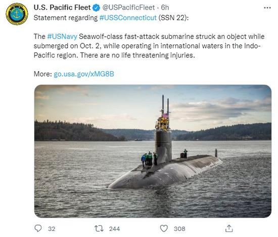 U.S. Navy nuclear sub damaged after hitting underwater object in Pacific