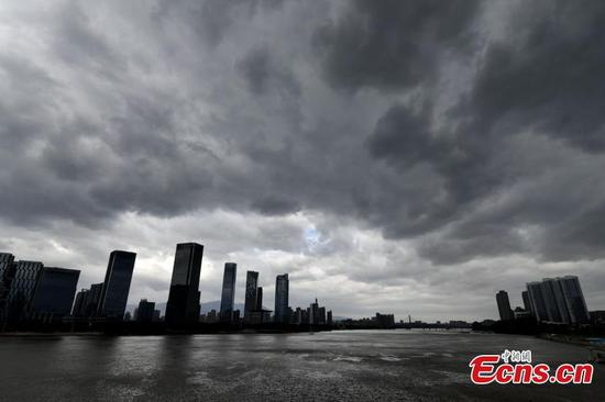 Typhoon Kompasu brings dark clouds to East China's Fuzhou city