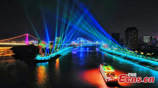 Colorful lights enchant visitors in China's 'hydropower city'