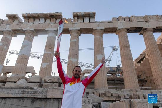 Highlights of torch relay for Beijing 2022 Winter Olympic Games in Greece