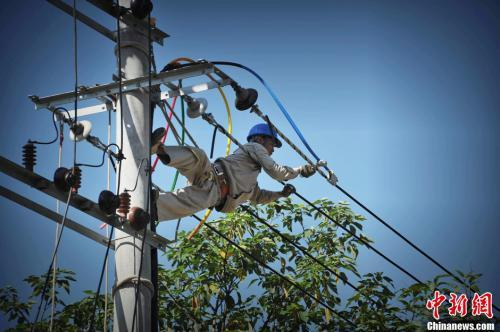 資料圖:福州一電力作業人員冒高溫爬上電桿作業。王東明 攝