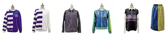 本次推出的5套校服单品正面。