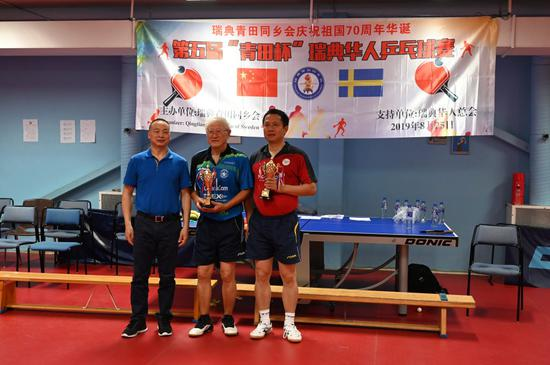 华夏队的潘明和王伟获得亚军奖杯。叶克雄会长为其颁奖。