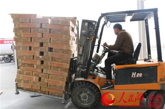 工作人员正在将包装好的鸭肉装入集装箱。那衣 摄