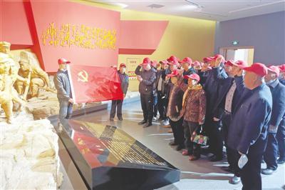 <p>  灵武市崇兴镇新架桥村党支部组织党员参观《红旗漫卷》展览。</p>
