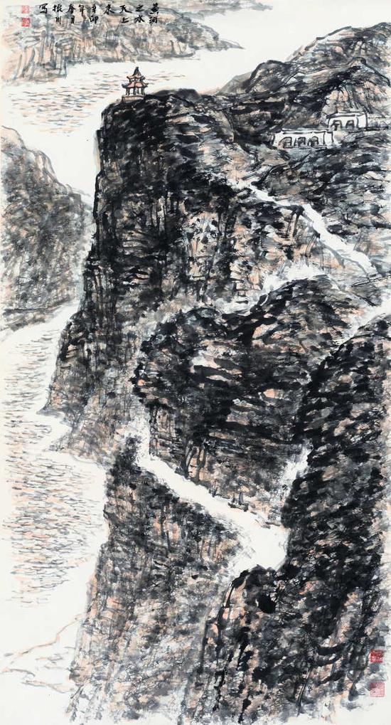 趙振川《黃河之水天上來》180cm×98cm