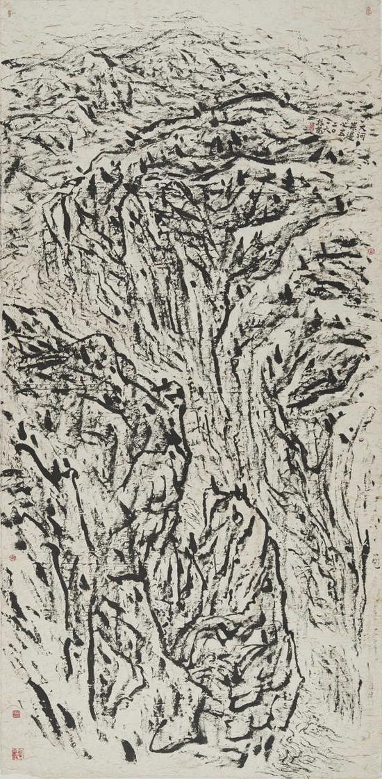 催振寬《大河岸邊之五》251cm×122.5cm