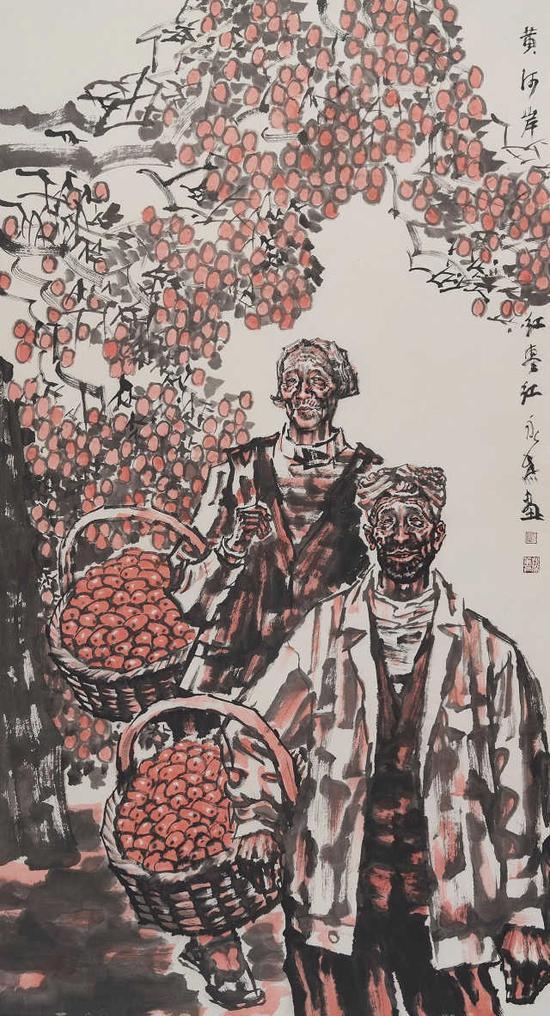 劉永杰《黃河岸紅棗紅》180cm×96cm