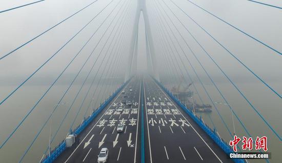 长江上最宽的大桥武汉沌口大桥建成通车(图)