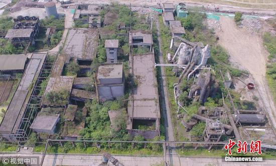 航拍汶川地震遗址 昔日工厂仅剩残垣断壁