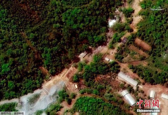 数字地球卫星图像显示下的朝鲜丰溪里核试验场