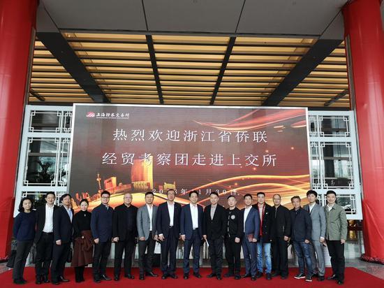 浙江省侨联及侨界青年企业家走进上海证券交易所。张煜欢 摄