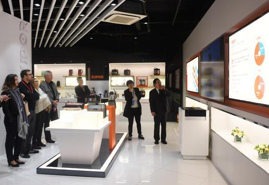 图为:德方代表等听取当地电器制造产业介绍。 王刚 摄