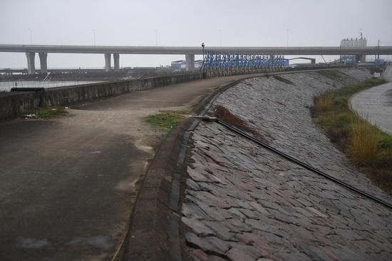 图为:三门海塘的堤坝。  王刚 摄