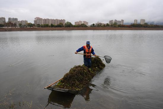 图为:工作人员在始丰溪清理杂物。  王刚 摄