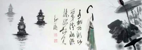 图为:国粹风书画院首席艺术家叶征潮杭州见面会的国画作画被浙江粉丝11万元拍走珍藏 小景 摄