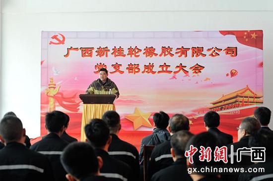 图为新桂轮橡胶有限公司党支部成立大会。