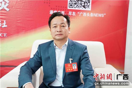 1月27日,广西人大代表、中国革命老区百色市田阳县长黄国哲接受中新社专访。 陈冠言 摄