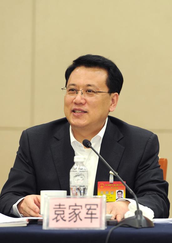 图为:浙江省省长袁家军正在发言。  张茵 摄