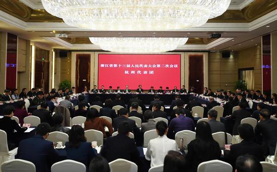 图为:杭州市代表团举行全体会议。 王刚 摄