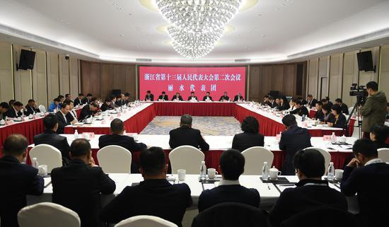 图为:丽水市代表团举行小组会议。 王刚 摄