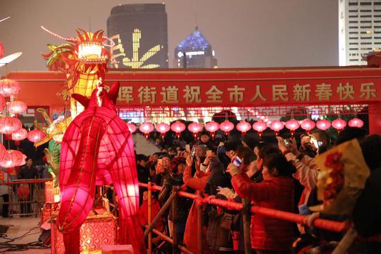 圖為:眾多市民在看花燈。柱子(通訊員)攝