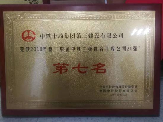 """图为:""""中国中铁三级综合工程公司20强""""第七名奖牌。  王亦明 张倩 摄"""