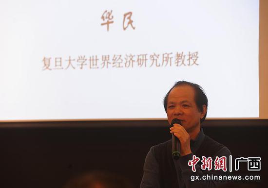 图为复旦大学世界经济研究所教授华民在演讲。蒋雪林  摄