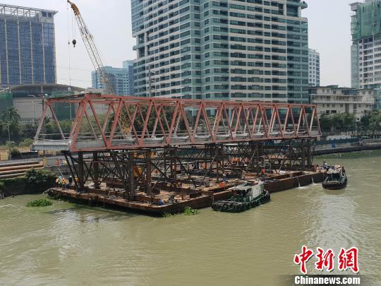 中菲合作中国援建菲律宾帕西格河EP大桥原桥主跨平移拆除