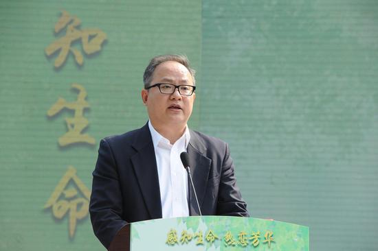 图为:杭州市政府副秘书长张文戈致辞。  张茵 摄
