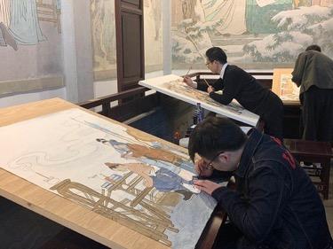 中国美院师生在岳庙开展壁画临摹活动 弘扬