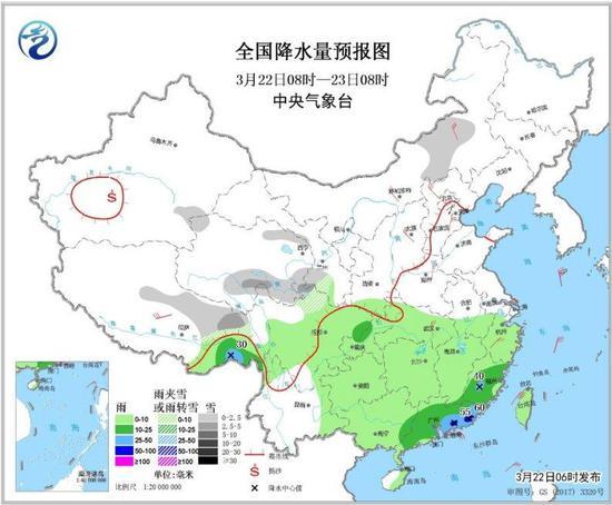 图3 全国降水量预报图(3月22日08时-23日08时)