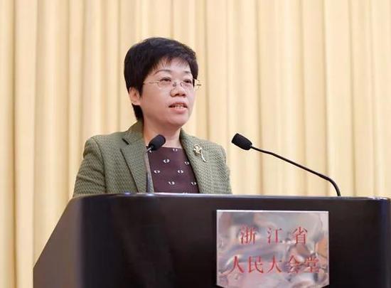 圖為:臺州市委書記陳奕君在大會上作典型發言。臺州市委宣傳部提供