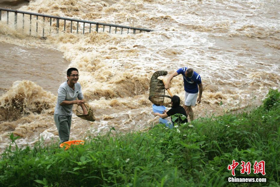 廣西雨后河水豐盈 民眾喜撈漁獲