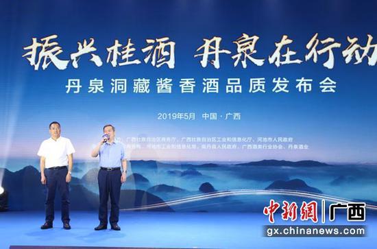 图为南丹县县长覃康平发言。林浩  摄