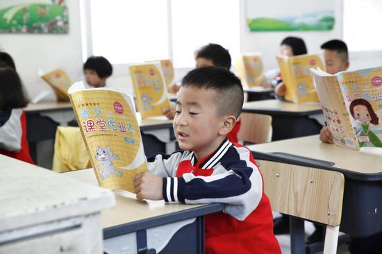 永嘉張溪學校同學們在上語文課。紅蜻蜓提供