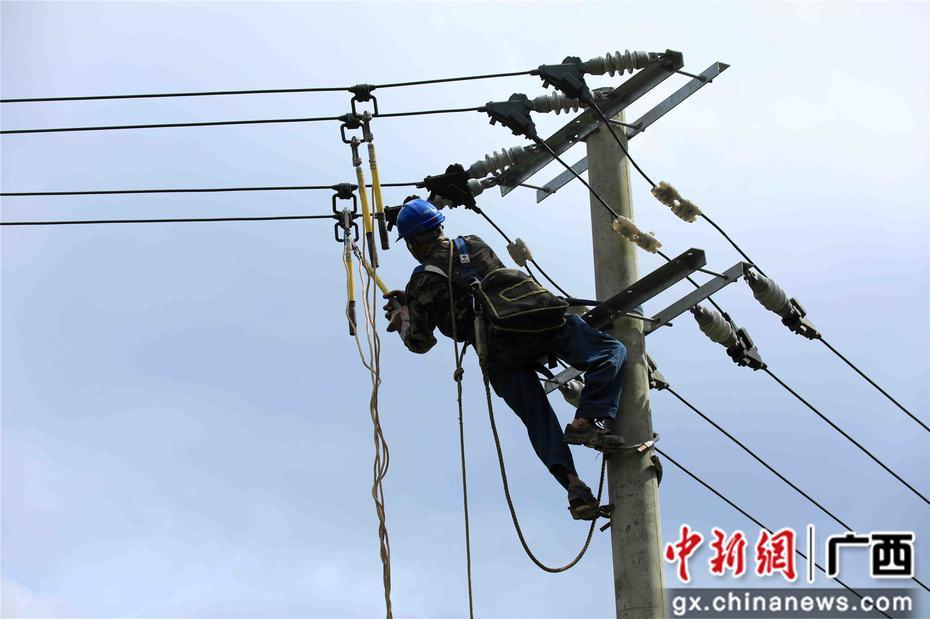 广西融安:暴雨过后电力抢修忙