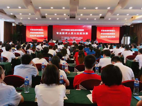 浙江举行生态环境检测专业技术人员大比武。钱晨菲 摄