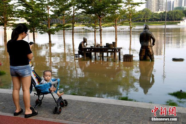 广西南宁城区江水暴涨 两岸步道被淹没