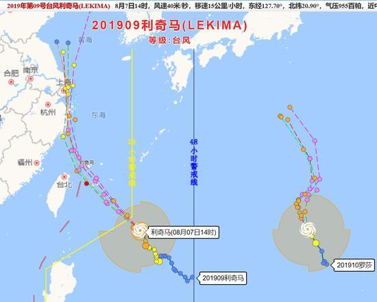 """图为:台风""""利奇马""""路径图 范宇斌 摄"""
