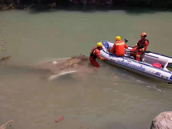 图为:永嘉消防指战员对下游河道进行搜寻 任益 摄