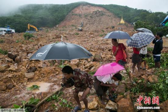 暴雨致缅甸东南部发生山体滑坡 死亡人数增至59人