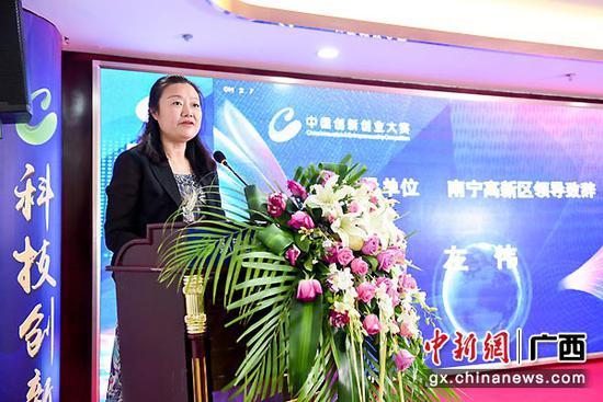 图为南宁高新区管委会副主任左伟致辞。