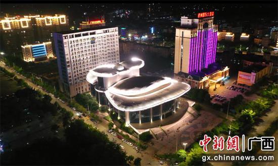 图为横县县城夜景。