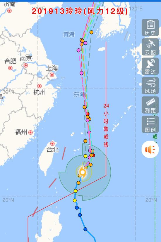 """图为台风""""玲玲""""路径图。  微信截图"""