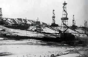 1945年的独山子油田。网上赚钱软件是真的吗_新疆油田供图