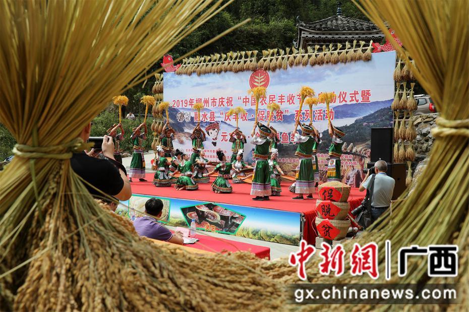 """廣西苗鄉上千民眾""""燒魚""""品百家宴 慶祝農民豐收節"""