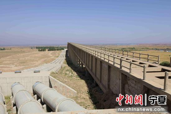 宁夏扶贫扬黄灌溉工程一角。