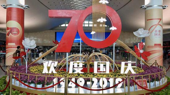 国庆期间的杭州机场。 钱晨菲 摄